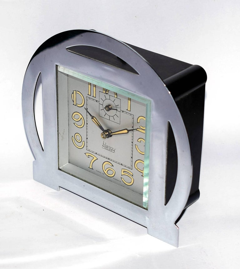 1930s Art Deco Blangy Chrome Clock In Good Condition For Sale In Devon, England