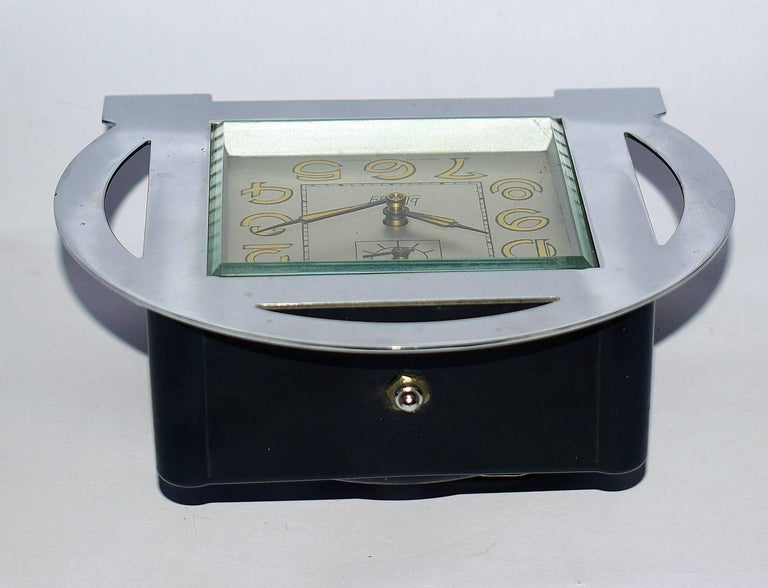 20th Century 1930s Art Deco Blangy Chrome Clock For Sale