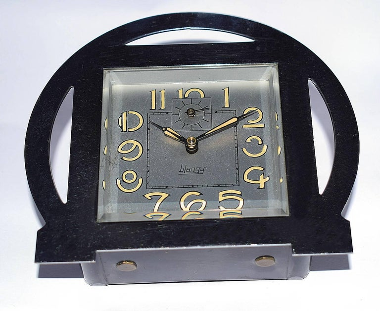 Glass 1930s Art Deco Blangy Chrome Clock For Sale