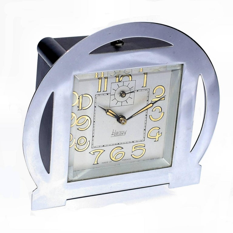 1930s Art Deco Blangy Chrome Clock For Sale 1