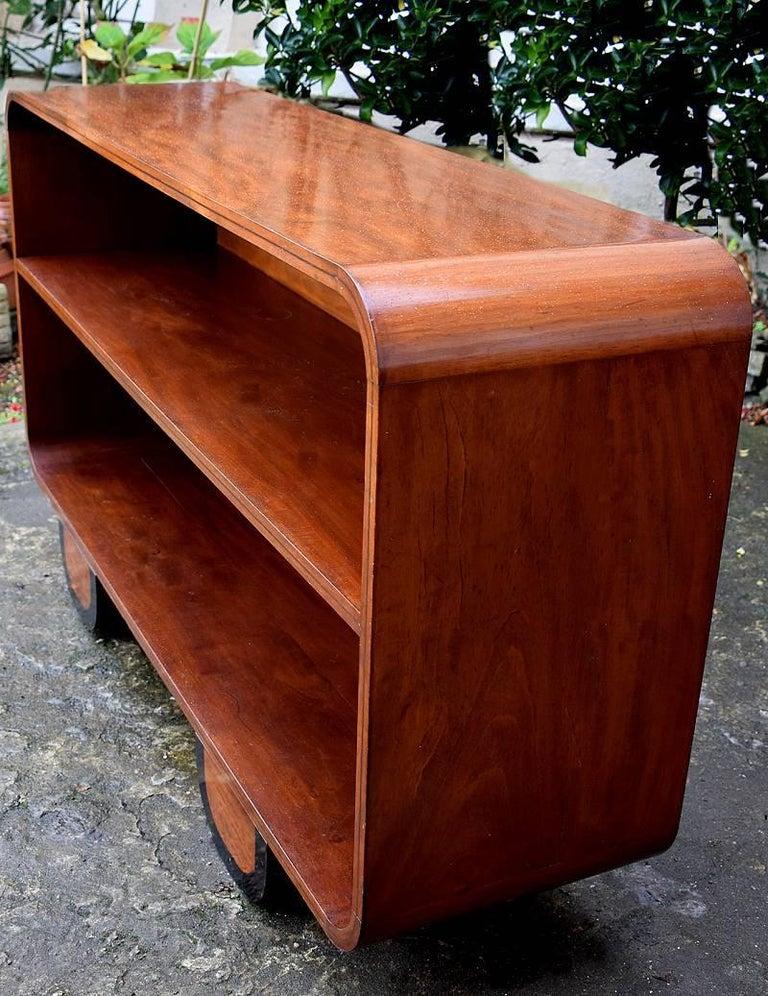 Walnut Art Deco Solid Wood Modernist Bookcase Shelves For Sale