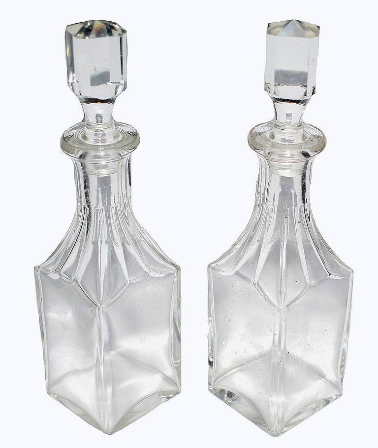 Glass Art Deco French Condiment Set by Jacque Adnet, circa 1930 For Sale