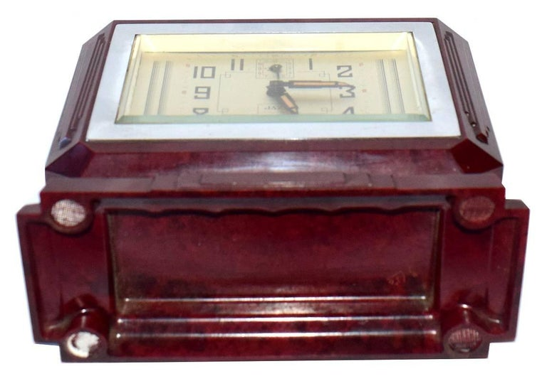 20th Century Large French Art Deco Bakelite Clock For Sale