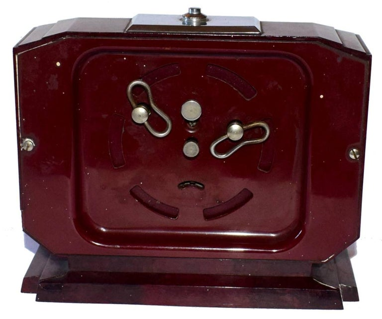 Glass Large French Art Deco Bakelite Clock For Sale