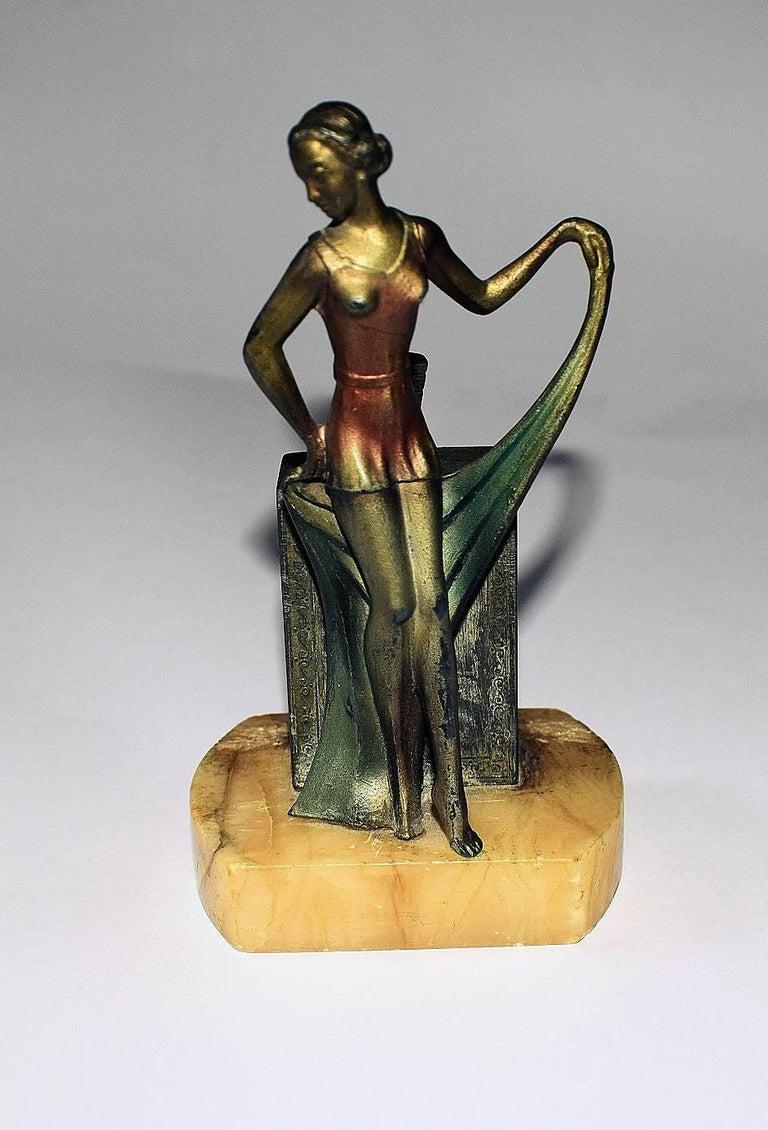 Spelter 1930s Art Deco Figural Lighter For Sale