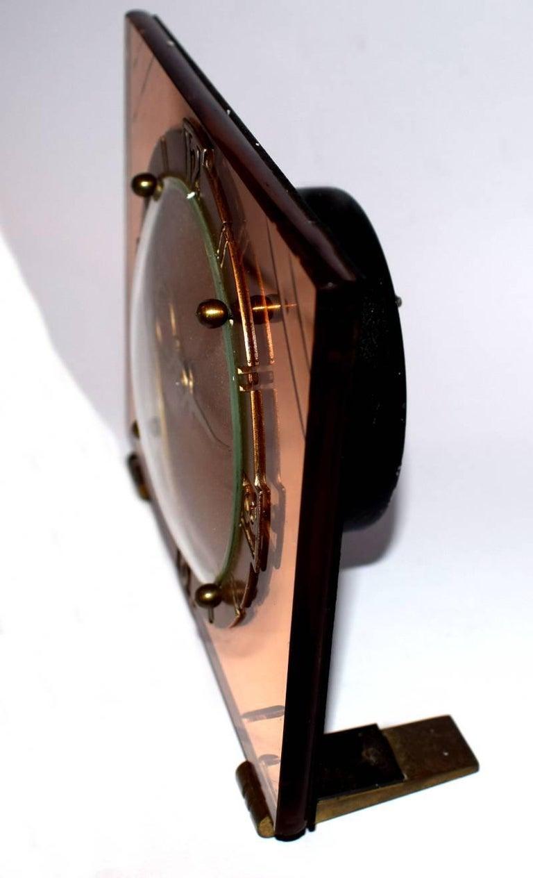 art deco english mirror glass clock for sale at 1stdibs. Black Bedroom Furniture Sets. Home Design Ideas