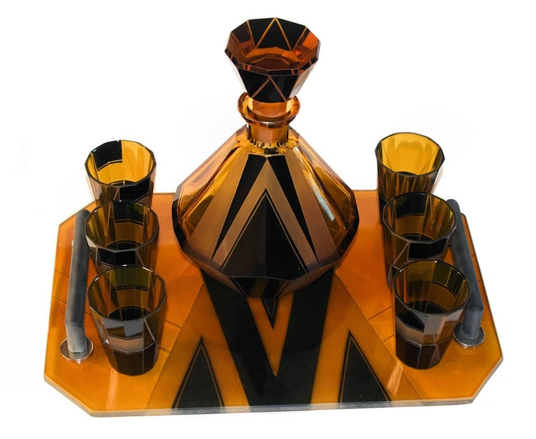Czech 1930s Art Deco Glass Decanter Set For Sale