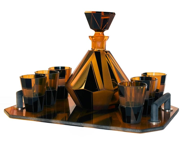 1930s Art Deco Glass Decanter Set For Sale 2