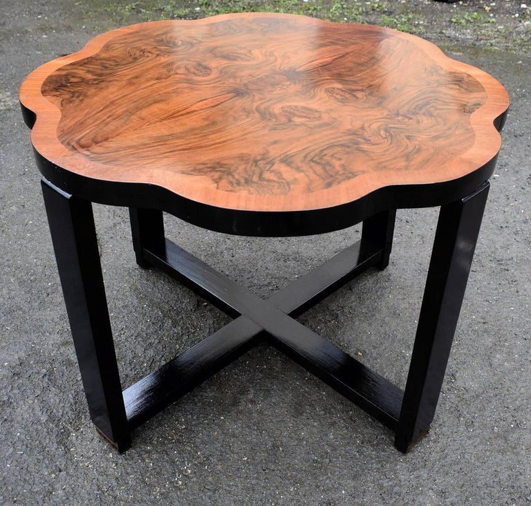 English Art Deco Walnut Centre Table For Sale