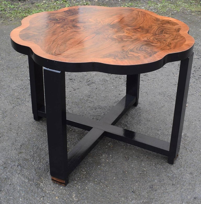 Polished Art Deco Walnut Centre Table For Sale