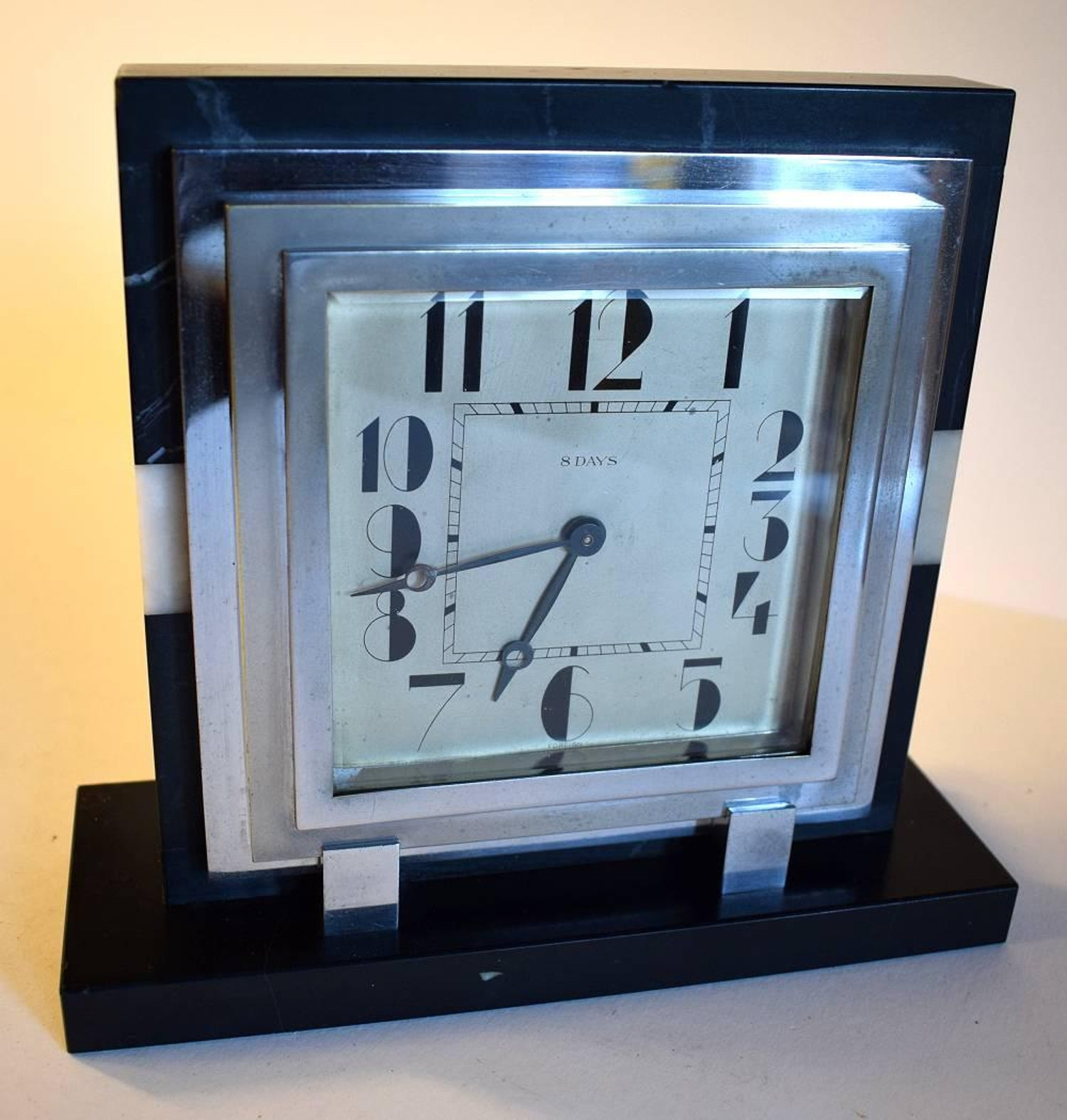Large 1930s Art Deco French Mantle Clock With 8 Day Movement at 1stdibs