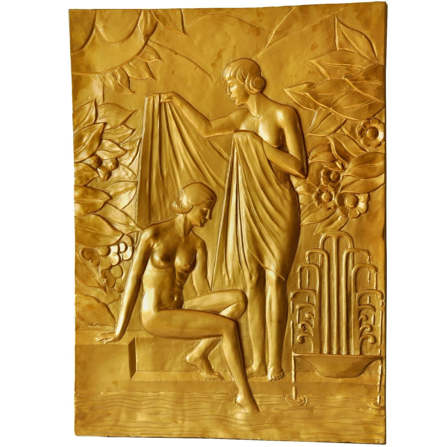 Large Art Deco Bathing Ladies Wall Plaque at 1stdibs