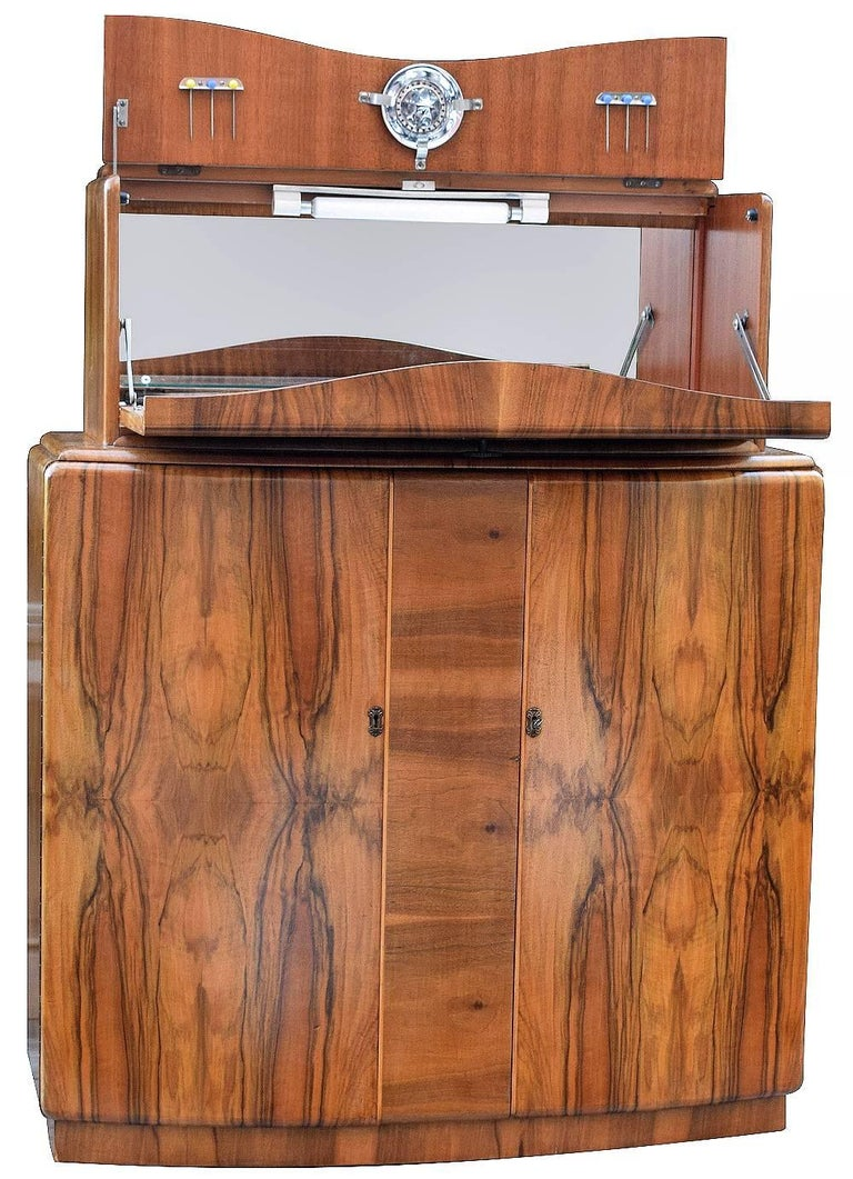 Mirror English Art Deco Walnut Cocktail Dry Bar For Sale