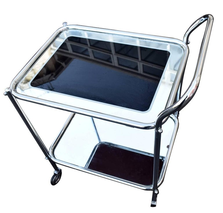 Original Art Deco Chrome and Mirror Modernist Hostess Trolley For Sale