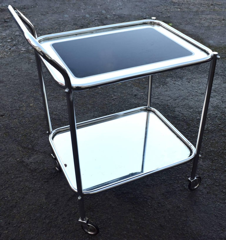 20th Century Original Art Deco Chrome and Mirror Modernist Hostess Trolley For Sale