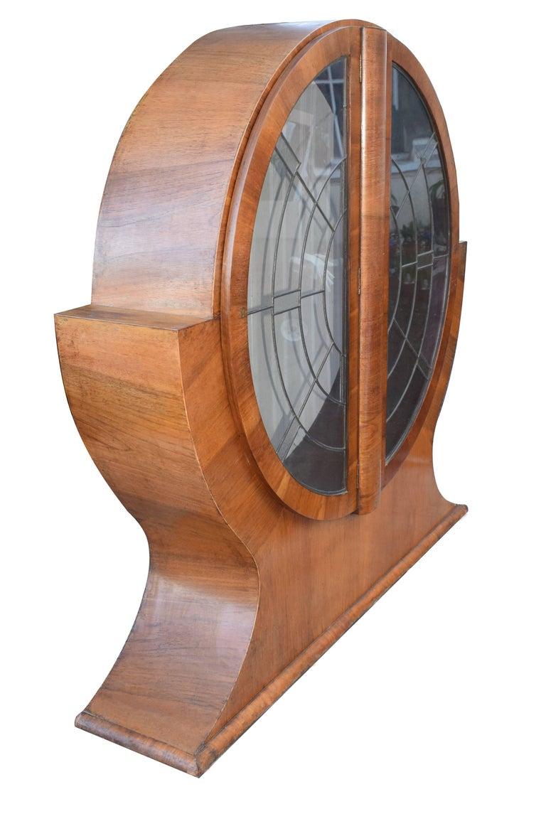 1930s English Art Deco Circular Display Cabinet in Walnut In Excellent Condition In Devon, England