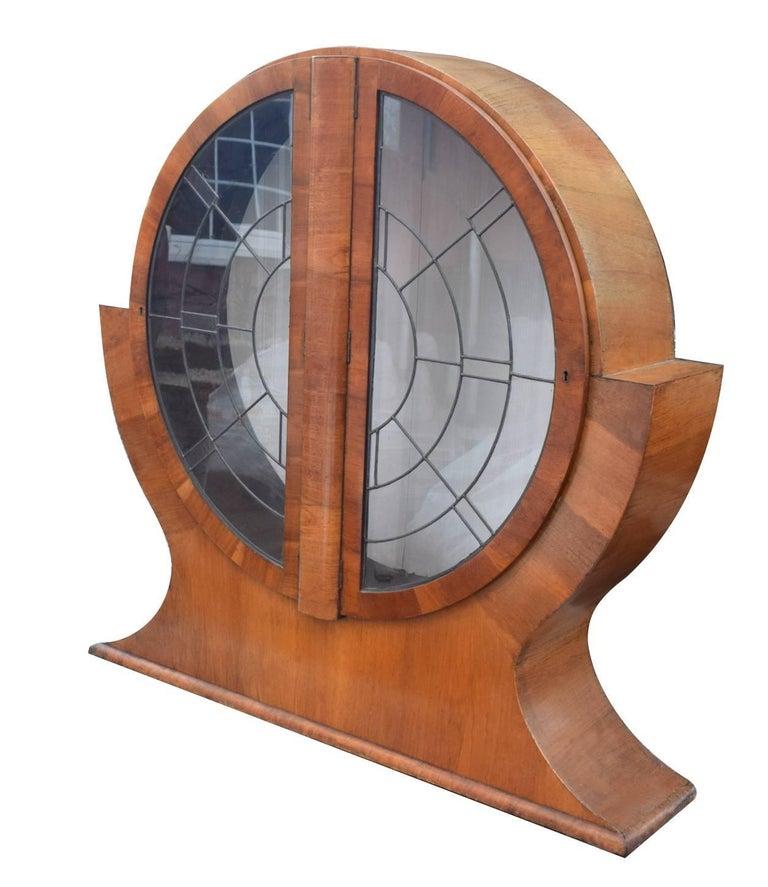 20th Century 1930s English Art Deco Circular Display Cabinet in Walnut