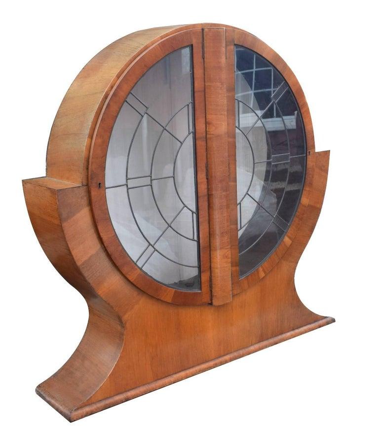 1930s English Art Deco Circular Display Cabinet in Walnut 1