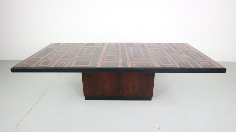 Copper-plated coffee table handmade and designed by German designer Heinz Lilienthal. Lilienthal was known for his wall decorations made of metal, wood and concrete. His skill and unique style are clearly visible in this wonderful coffee Table. The
