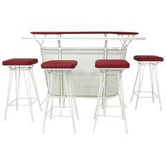 Französisch Metall Perforierte Cocktail-Bar im Stil von Mategot, 1950er