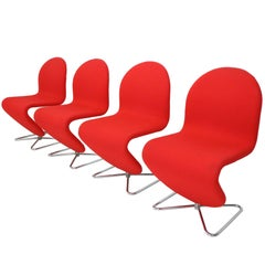 Verner Panton 123 Chairs by for Fritz Hansen, 1973, Set of Four
