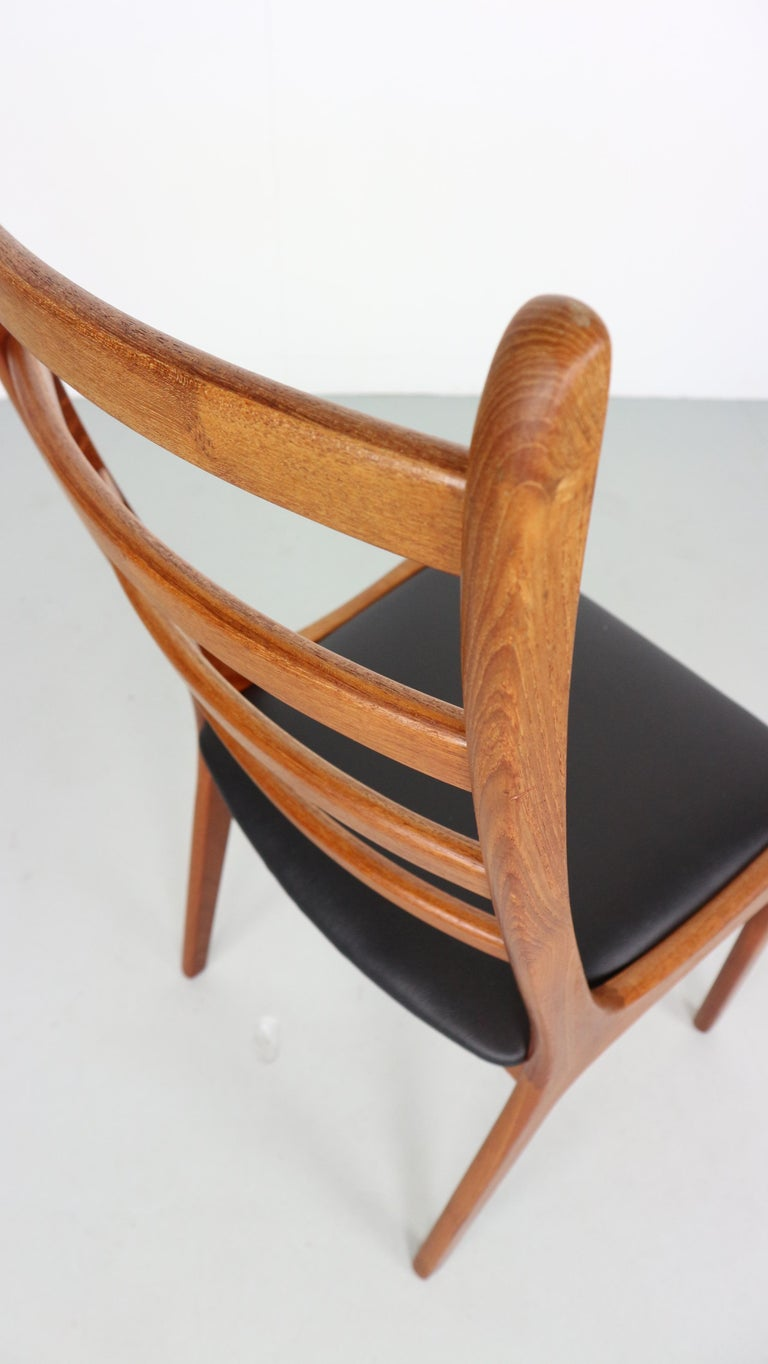 Faux Leather Danish Modern Teak Ladder Back Dining Chairs by Kai Kristiansen For Sale
