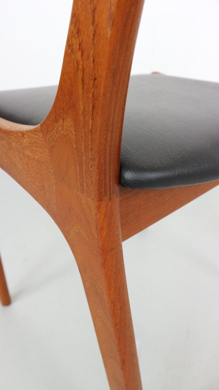 Danish Modern Teak Ladder Back Dining Chairs by Kai Kristiansen For Sale 1