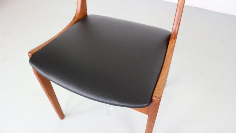 Danish Modern Teak Ladder Back Dining Chairs by Kai Kristiansen For Sale 3