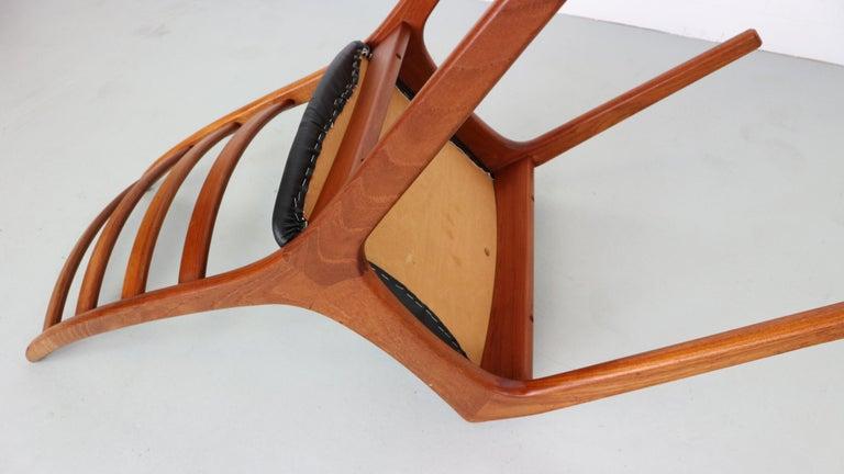 Danish Modern Teak Ladder Back Dining Chairs by Kai Kristiansen For Sale 4