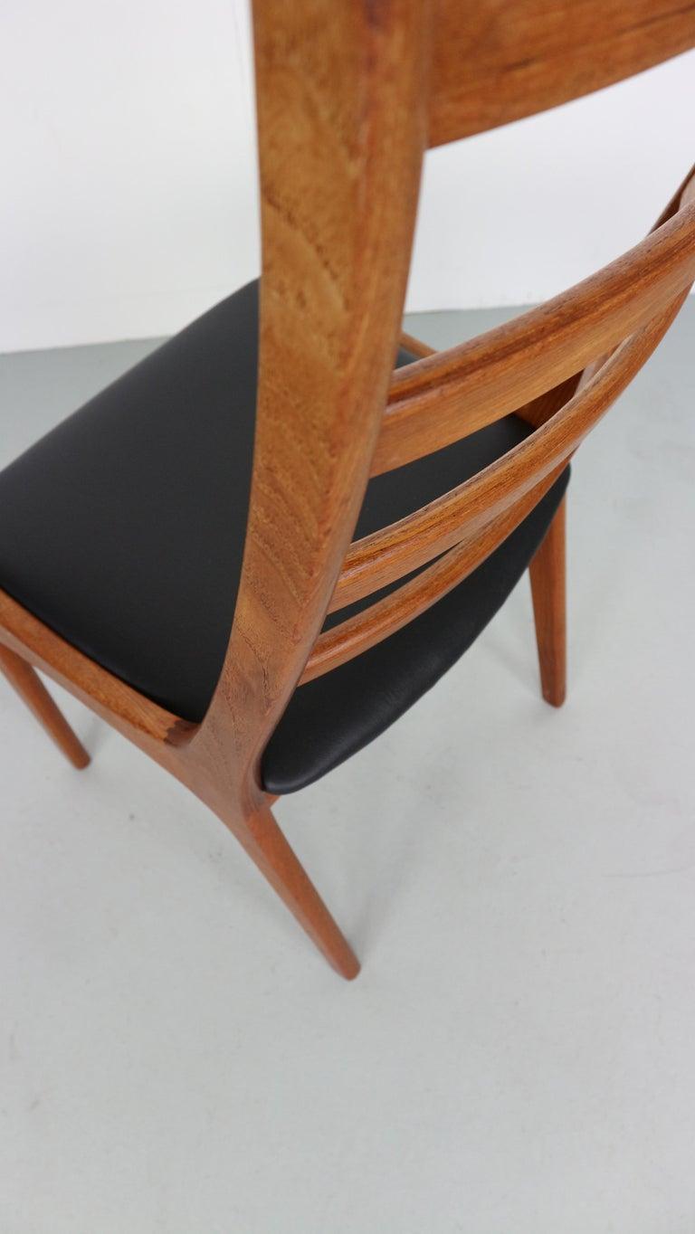 Danish Modern Teak Ladder Back Dining Chairs by Kai Kristiansen For Sale 5