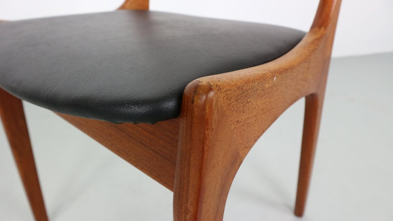 Danish Modern Teak Ladder Back Dining Chairs by Kai Kristiansen For Sale 6