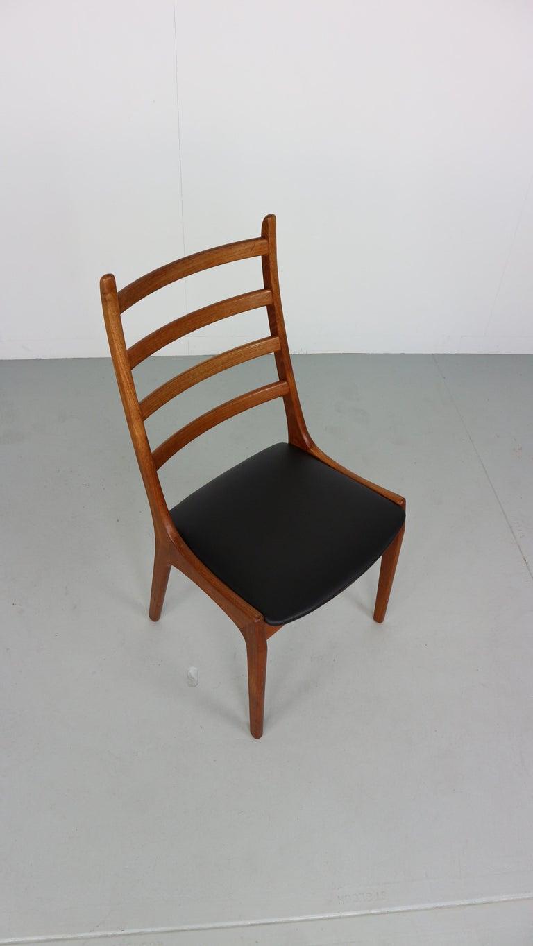 Danish Modern Teak Ladder Back Dining Chairs by Kai Kristiansen For Sale 7