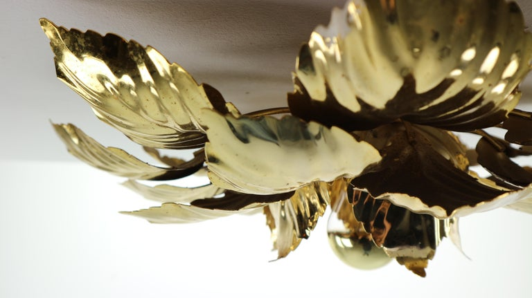 Late 20th Century Brass Leaves Flush Mount Willy Daro, 1970s, Belgium For Sale
