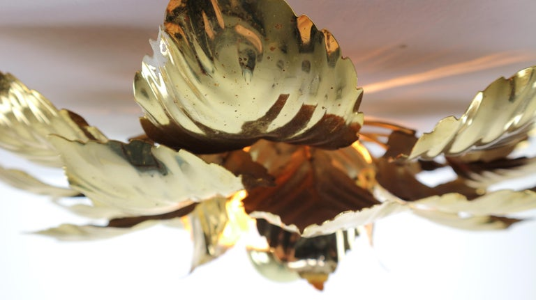 Brass Leaves Flush Mount Willy Daro, 1970s, Belgium For Sale 1