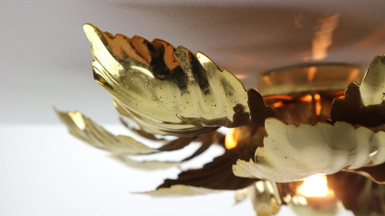Brass Leaves Flush Mount Willy Daro, 1970s, Belgium For Sale 4