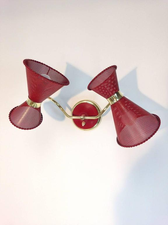 Mid-Century Modern French Wall Lamp attributed to Mathieu Mategot For Sale