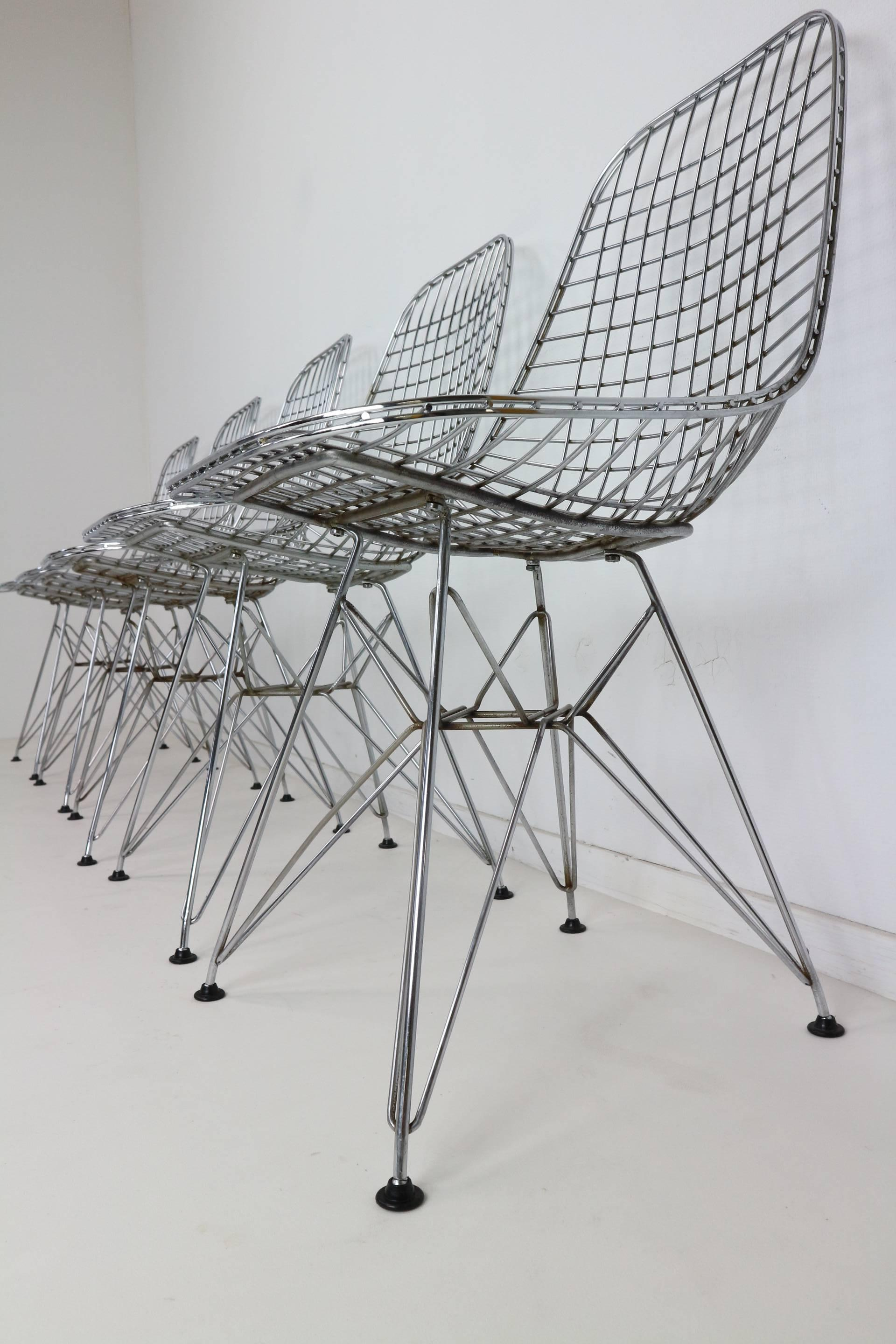 Set of Five Eames DKR Eiffel Base Wire Chairs for Vitra at 1stdibs