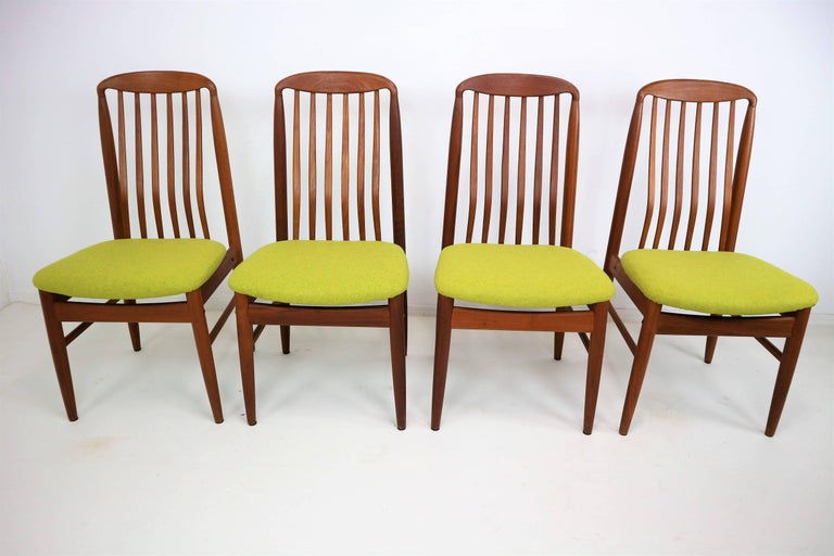 Four danish modern teak dining chairs by benny linden for sale at 1stdibs - Scandinavian teak dining room furniture design ...