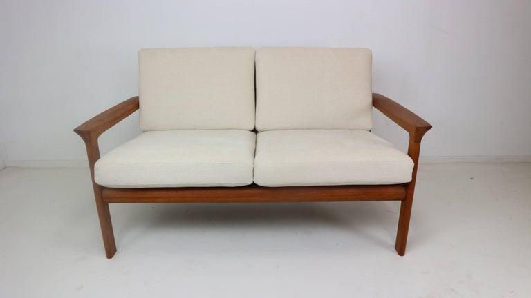 Scandinavian Modern Danish Teak Two-Seat Sofa by Sven Ellekaer for Komfort, 1960s For Sale