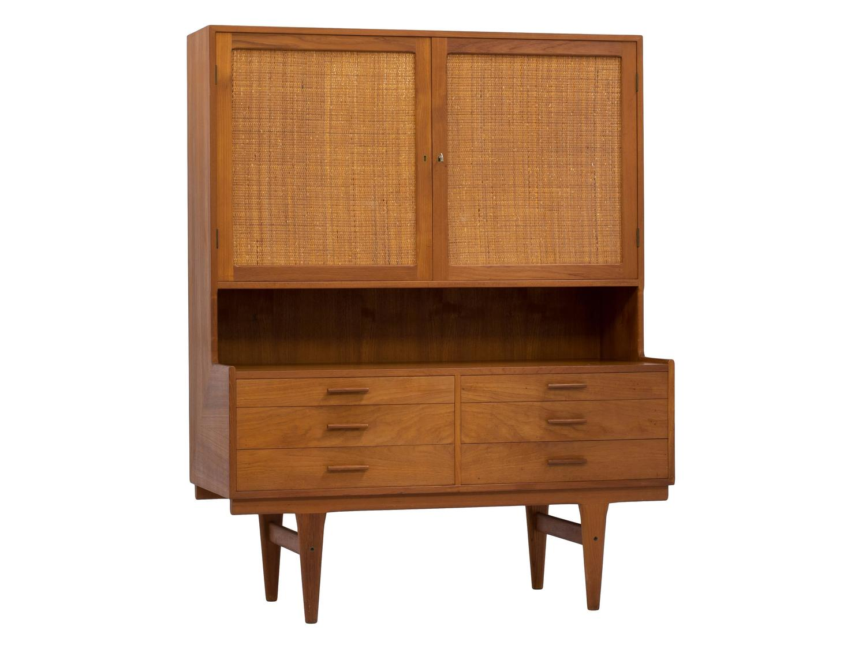 Mid-Century Danish Cabinet Storage Cabinet Teak Sideboard Hutch ...
