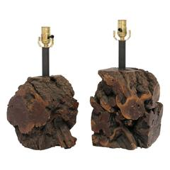 Mid-Century Burl Wood Table Lamps, Pair