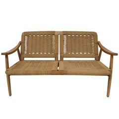 Mid-Century Modern Rope Cord and Wood Bench Settee Hans Wegner Style