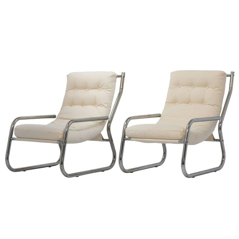 Mid-Century Sling Lounge Chairs Pair in Tubular Chrome with New Fabric 6