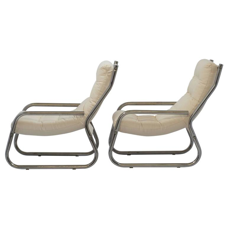 Mid-Century Sling Lounge Chairs Pair in Tubular Chrome with New Fabric 7