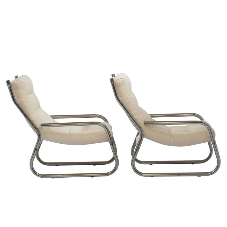 Mid-Century Sling Lounge Chairs Pair in Tubular Chrome with New Fabric 8