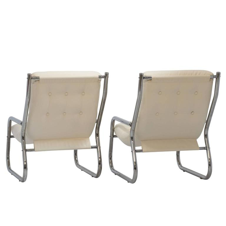 Mid-Century Sling Lounge Chairs Pair in Tubular Chrome with New Fabric 5