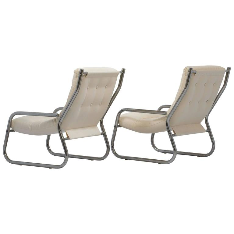 Mid-Century Sling Lounge Chairs Pair in Tubular Chrome with New Fabric 4