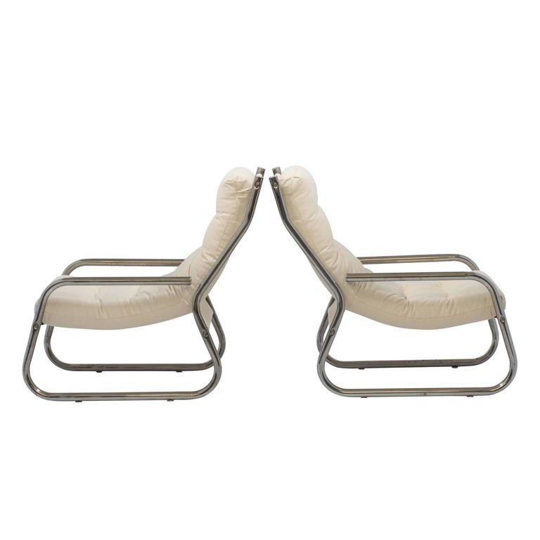 Mid-Century Sling Lounge Chairs Pair in Tubular Chrome with New Fabric 3