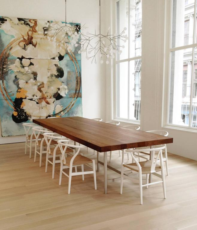American Soho Dining Table In Reclaimed Chestnut, Brushed Stainless Steel  Base For Sale