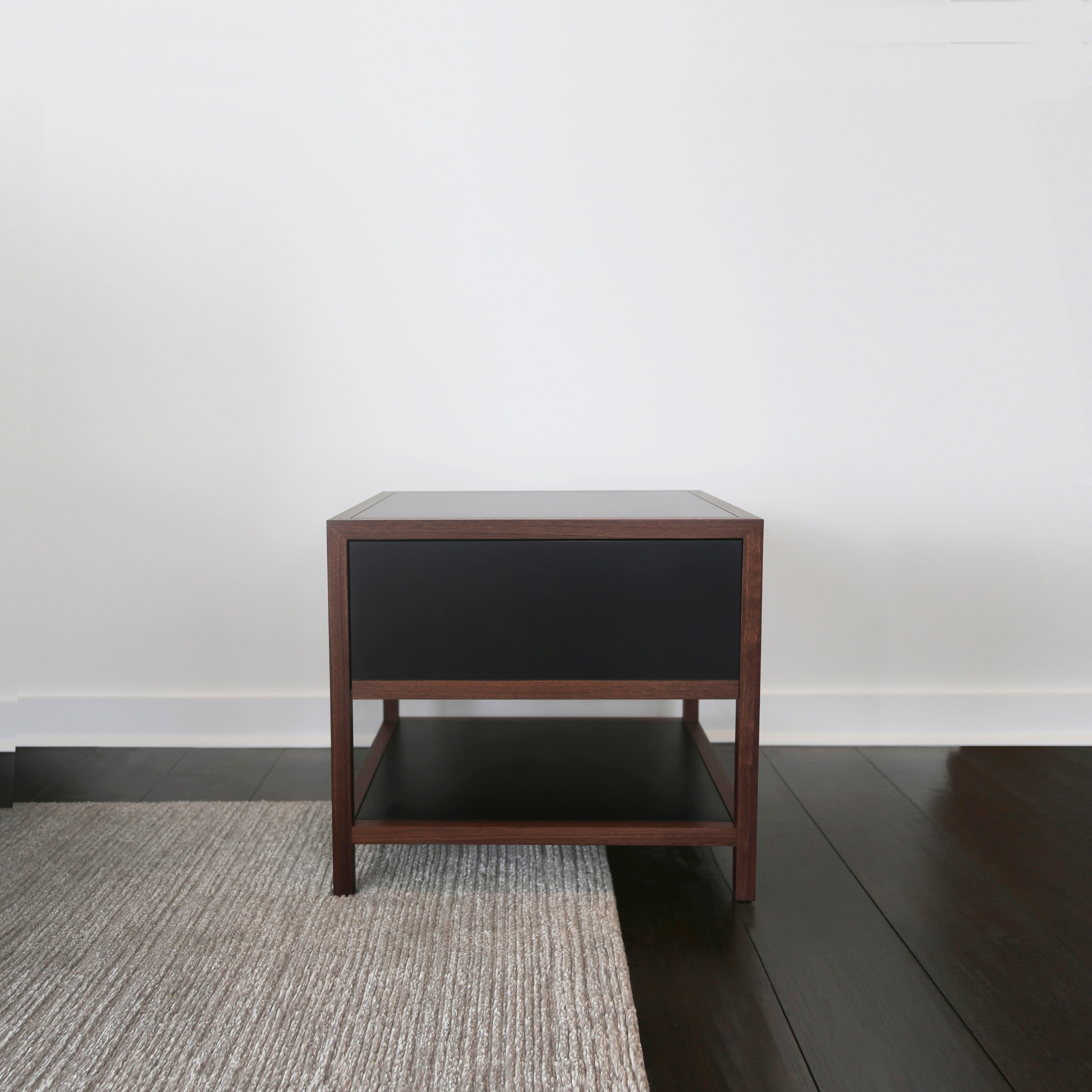 Driver Side Table In Black Paper Composite And Oiled Walnut Single Drawer For At 1stdibs
